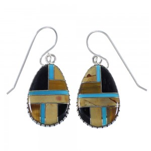 Genuine Sterling Silver And Multicolor Earrings EX41064