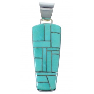 Southwest Silver And Turquoise Inlay Pendant PX41738
