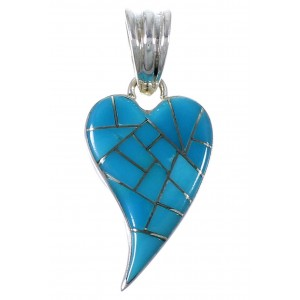Authentic Sterling Silver Turquoise Inlay Heart Pendant PX41839