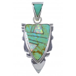 Southwest Silver And Turquoise Opal Inlay Arrowhead Pendant PX41923