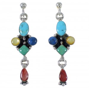 Multicolor And Genuine Sterling Silver Earrings EX44478