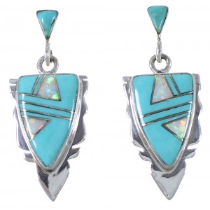 Southwest Turquoise And Opal Silver Earrings EX44485