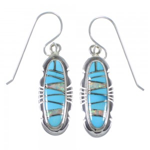 Turquoise And Opal Inlay Silver Earrings EX41134