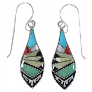 Multicolor Inlay Southwest Silver Earrings EX41168