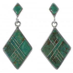 Turquoise Inlay And Silver Southwest Earrings EX44799