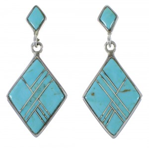 Genuine Sterling Silver And Turquoise Inlay Earrings EX44805