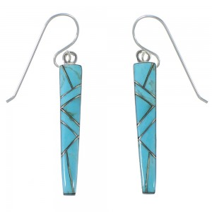 Southwest Silver And Turquoise Inlay Earrings EX44866