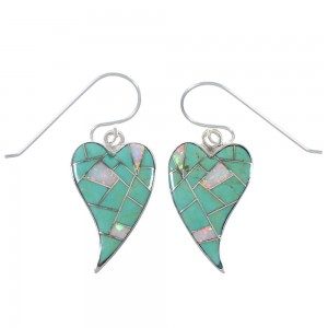 Turquoise And Opal Inlay Sterling Silver Heart Earrings CX46429