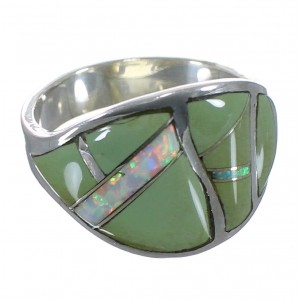 Silver Turquoise And Opal Southwestern Ring Size 8-3/4 EX44738