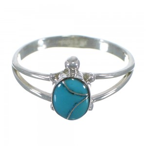 Turtle Turquoise Sterling Silver Southwest Ring Size 6-3/4 TX46561
