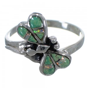 Southwest Turquoise And Opal Dragonfly Silver Ring Size 7-1/4 EX44621