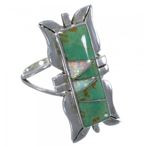 Southwest Turquoise And Opal Inlay Silver Ring Size 5-3/4 AX53642