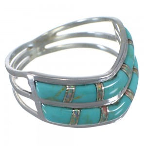 Opal And Turquoise Inlay Jewelry Silver Ring Size 7-3/4 AX53972