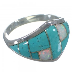 Southwest Opal And Turquoise Inlay Silver Jewelry Ring Size 7-3/4 AX52412