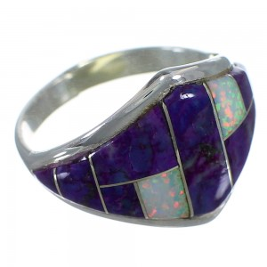 Magenta Turquoise And Opal Inlay Silver Jewelry Ring Size 4-3/4 AX52466