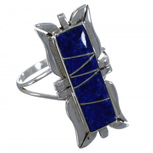 Southwest Sterling Silver And Lapis Ring Size 8-1/4 EX44302