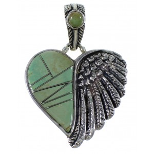 Turquoise Inlay Genuine Sterling Silver Heart Pendant PX42975