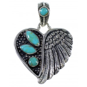 Southwestern Jewelry Silver Heart Turquoise Pendant PX43000