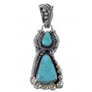 Turquoise Flower Jewelry Sterling Silver Southwest Pendant CX46676