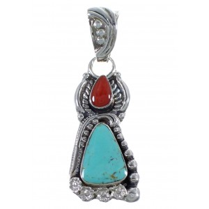 Southwestern Turquoise Coral Flower Sterling Silver Pendant CX46679