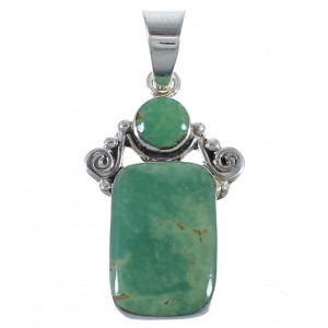 Turquoise Genuine Sterling Silver Jewelry Southwest Pendant CX46722