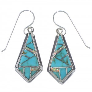 Southwestern Turquoise And Opal Silver Earrings CX45343