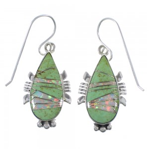 Genuine Sterling Silver Turquoise And Opal Hook Earrings CX45501