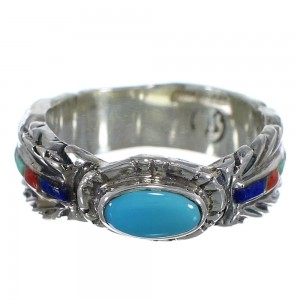 Southwest Silver Feather Multicolor Ring Size 4-3/4 PX43823