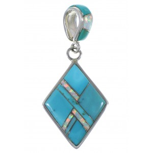 Turquoise Opal Inlay Sterling Silver Pendant EX44332