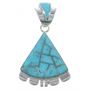 Silver Turquoise Inlay Southwestern Pendant AX48940