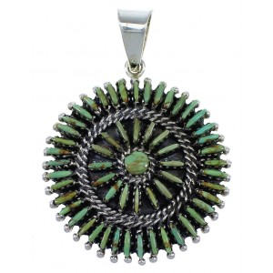 Turquoise Needlepoint Genuine Sterling Silver Pendant CX46285