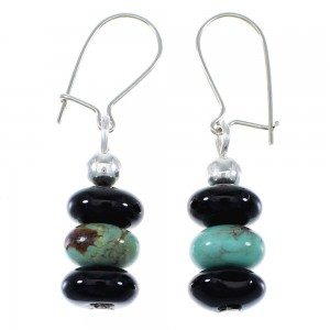 Turquoise Onyx Bead Navajo Silver Earrings EX46156