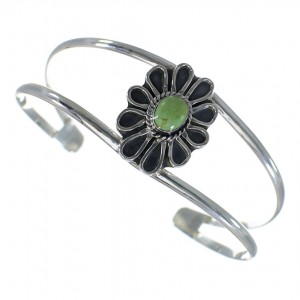 Sterling Silver Turquoise Flower Cuff Bracelet EX45063