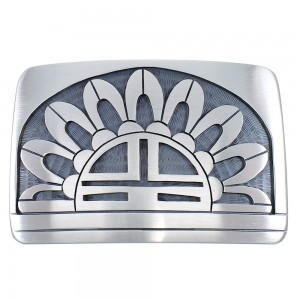 George Phillips Hopi Indian Sun Sterling Silver Belt Buckle EX48135