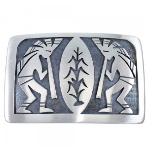 Hopi Indian George Phillips Kokopelli Corn Stalk Belt Buckle EX48139
