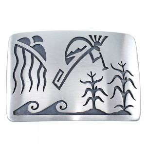 Hopi G. Phillips Kokopelli Cloud Rain Water Wave Belt Buckle EX48140