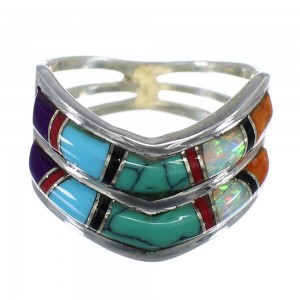 Southwest Sterling Silver And Multicolor Inlay Ring Size 5-3/4 AS52118