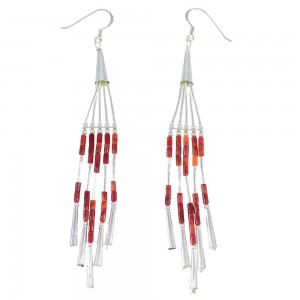 Liquid Sterling Silver And Red Oyster Shell Earrings EX46890