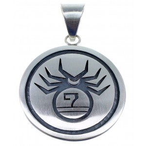 Hopi George Phillips Silver Spider And Water Wave Pendant EX49140