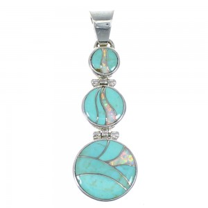 Turquoise And Opal Sterling Silver Southwest Pendant CX47302