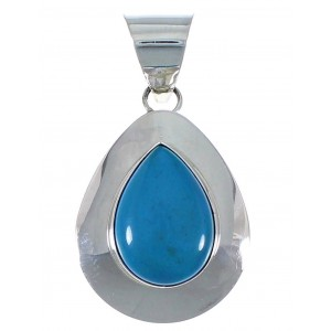 Sterling Silver Southwest Turquoise Tear Drop Pendant EX48782