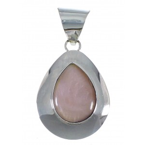 Pink Shell Genuine Sterling Silver Tear Drop Pendant EX48785