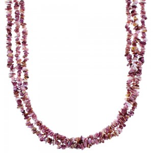 Purple Oyster Shell Navajo Silver 3-Strand Bead Necklace TX47690