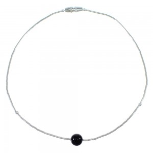 Onyx Bead Hand Strung Liquid Silver Anklet EX49774
