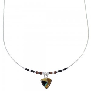 Hand Strung Liquid Silver Multicolor Inlay Necklace EX50003