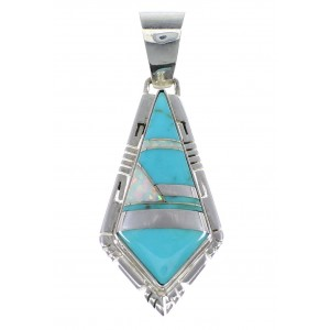Authentic Sterling Silver Turquoise And Opal Inlay Pendant AX48218