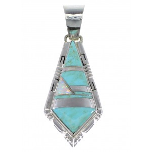 Silver Turquoise And Opal Inlay Pendant AX48220