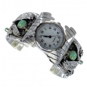 Turquoise Genuine Sterling Silver Southwest Eagle Cuff Watch CX47961