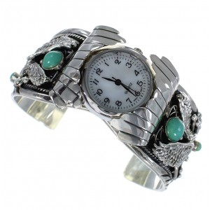 Turquoise Southwest Genuine Sterling Silver Eagle Cuff Watch CX47963