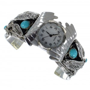 Authentic Sterling Silver Southwest Eagle Turquoise Cuff Watch CX48001
